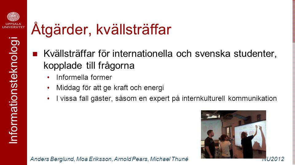 Informationsteknologi Anders Berglund, Moa Eriksson, Arnold Pears, Michael ThunéNU2012 Åtgärder, kvällsträffar Kvällsträffar för internationella och s