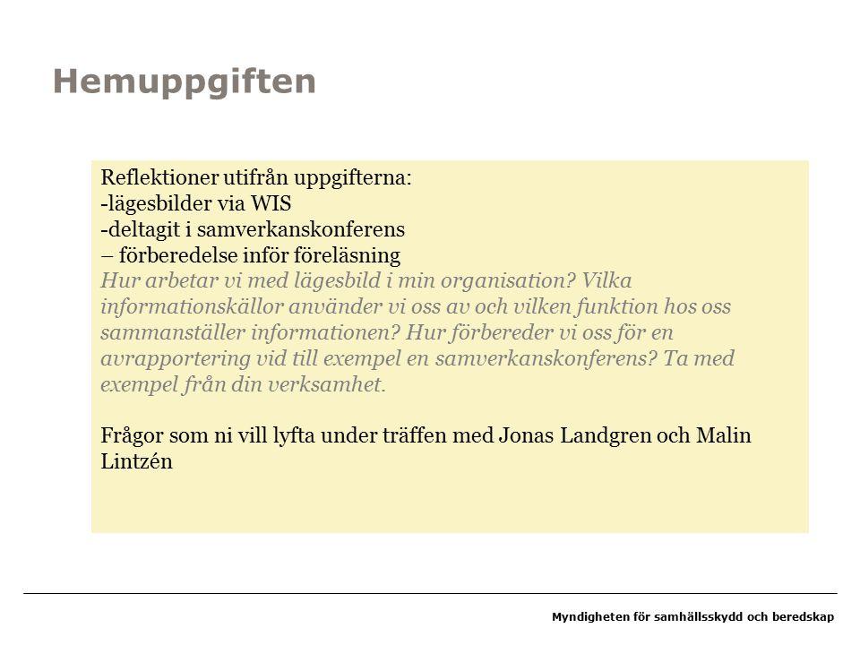 Myndigheten för samhällsskydd och beredskap Reflektion från dag 1 Klart/ oklart?