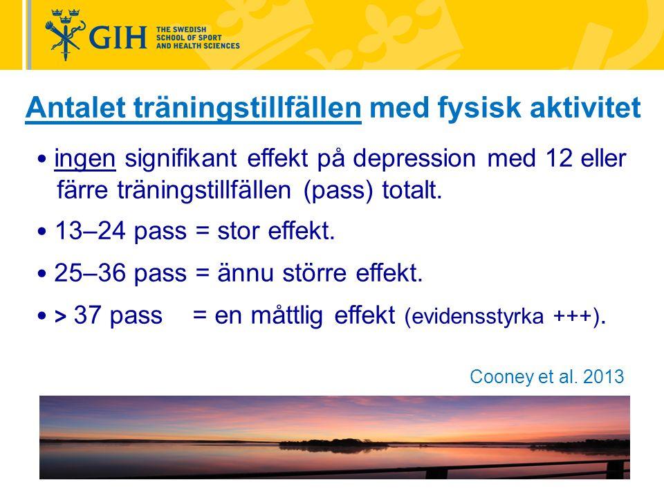 Antalet träningstillfällen med fysisk aktivitet ingen signifikant effekt på depression med 12 eller färre träningstillfällen (pass) totalt.