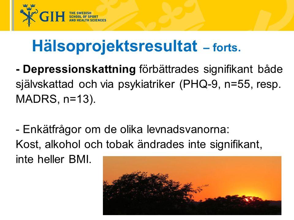 - Depressionskattning förbättrades signifikant både självskattad och via psykiatriker (PHQ-9, n=55, resp.