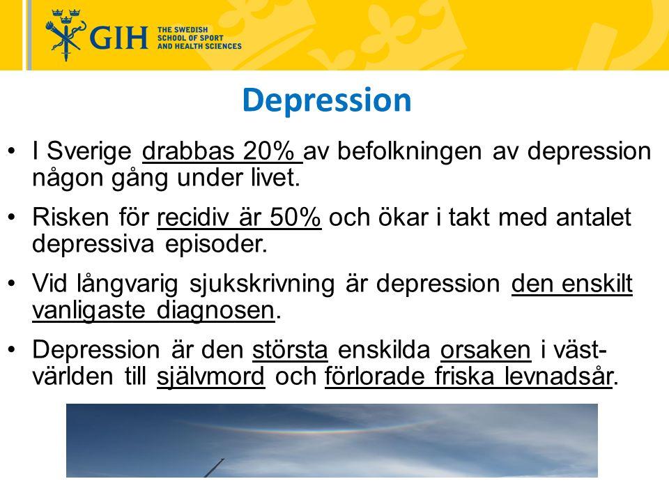 I Sverige drabbas 20% av befolkningen av depression någon gång under livet.