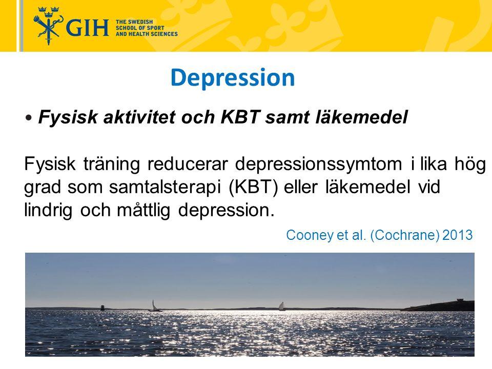 Fysisk aktivitet och KBT samt läkemedel Fysisk träning reducerar depressionssymtom i lika hög grad som samtalsterapi (KBT) eller läkemedel vid lindrig och måttlig depression.