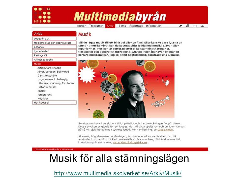 Musik för alla stämningslägen http://www.multimedia.skolverket.se/Arkiv/Musik/