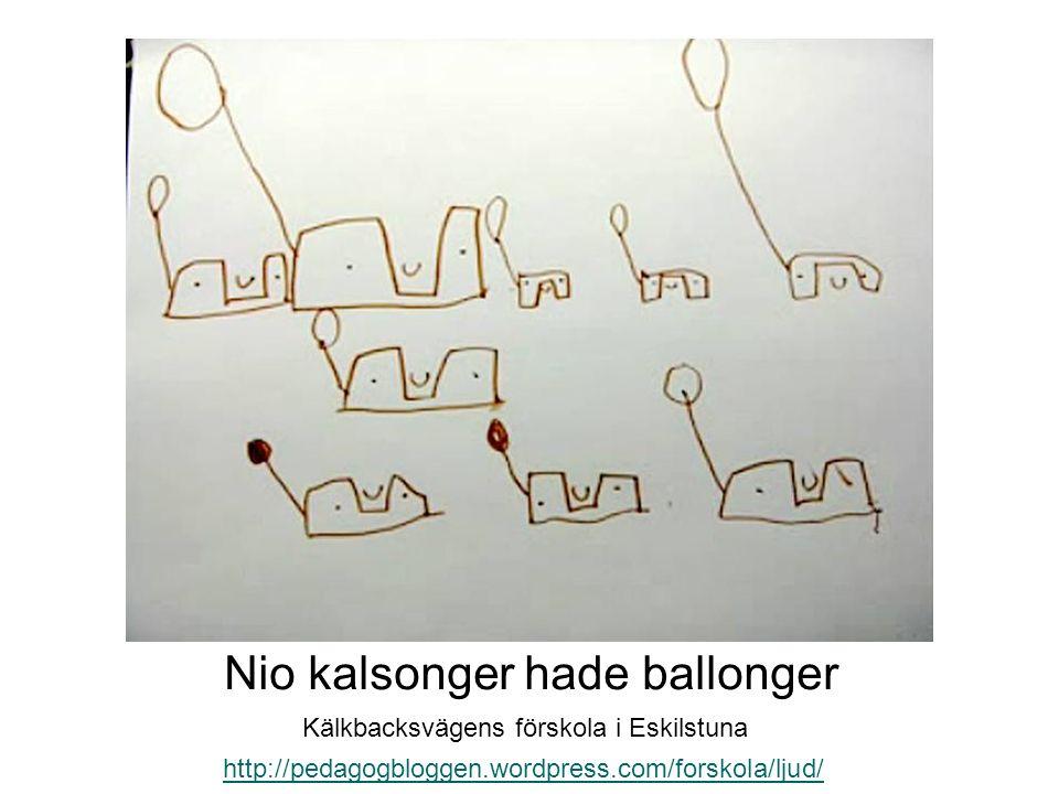 Nio kalsonger hade ballonger http://pedagogbloggen.wordpress.com/forskola/ljud/ Kälkbacksvägens förskola i Eskilstuna