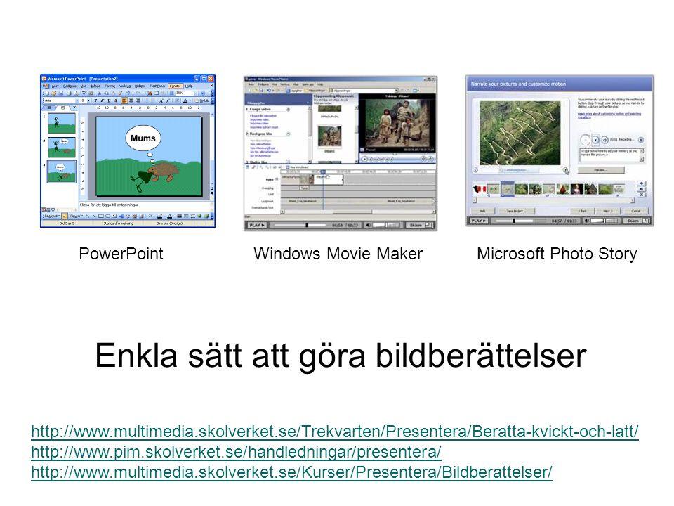 http://www.multimedia.skolverket.se/Trekvarten/Presentera/Beratta-kvickt-och-latt/ http://www.pim.skolverket.se/handledningar/presentera/ http://www.multimedia.skolverket.se/Kurser/Presentera/Bildberattelser/ Enkla sätt att göra bildberättelser PowerPointWindows Movie MakerMicrosoft Photo Story