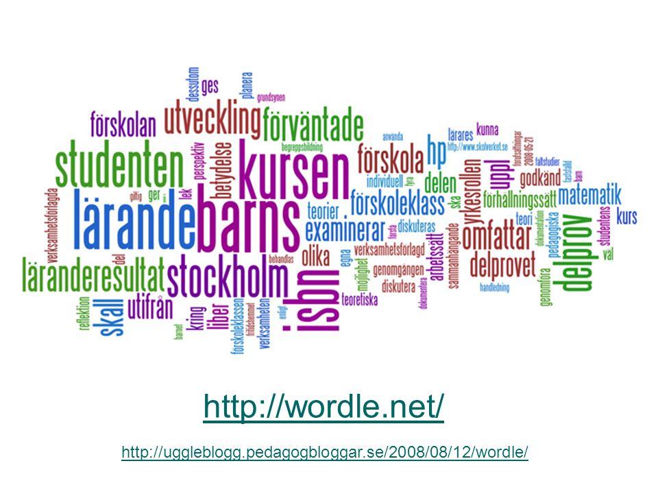 http://uggleblogg.pedagogbloggar.se/2008/08/12/wordle/ http://wordle.net/