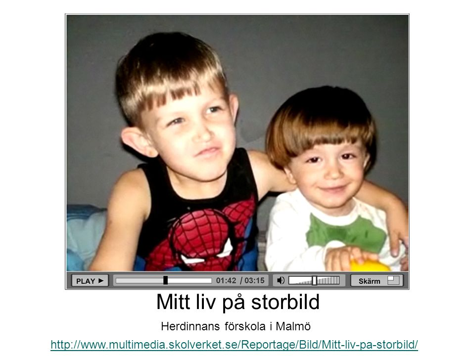 http://www.multimedia.skolverket.se/Reportage/Bild/Mitt-liv-pa-storbild/ Mitt liv på storbild Herdinnans förskola i Malmö