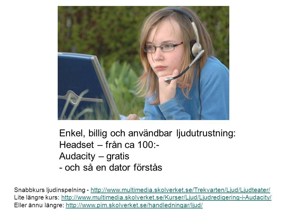 Enkel, billig och användbar ljudutrustning: Headset – från ca 100:- Audacity – gratis - och så en dator förstås Snabbkurs ljudinspelning - http://www.