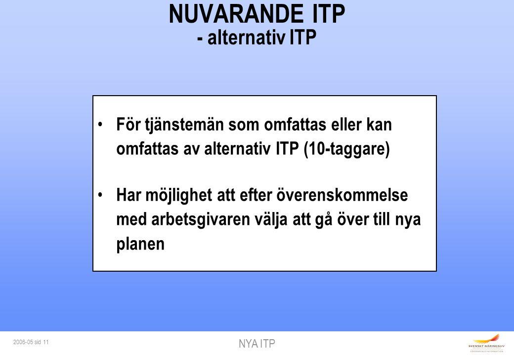 NYA ITP 2006-05 sid 11 NUVARANDE ITP - alternativ ITP För tjänstemän som omfattas eller kan omfattas av alternativ ITP (10-taggare) Har möjlighet att efter överenskommelse med arbetsgivaren välja att gå över till nya planen
