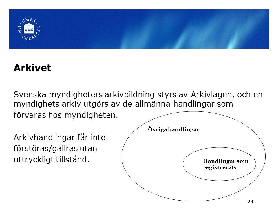 Arkivet Svenska myndigheters arkivbildning styrs av Arkivlagen, och en myndighets arkiv utgörs av de allmänna handlingar som förvaras hos myndigheten.