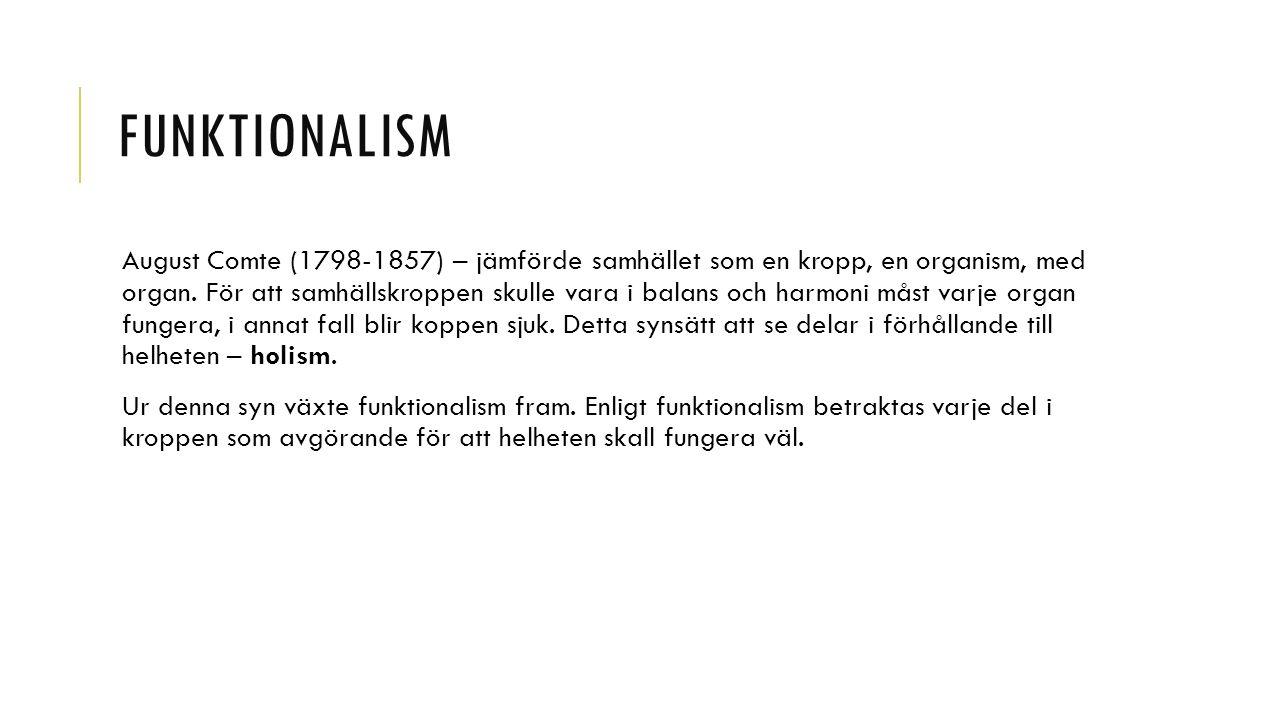 FUNKTIONALISM August Comte (1798-1857) – jämförde samhället som en kropp, en organism, med organ.