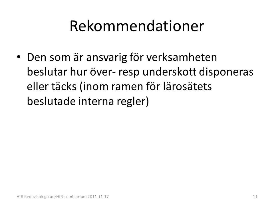 Rekommendationer Den som är ansvarig för verksamheten beslutar hur över- resp underskott disponeras eller täcks (inom ramen för lärosätets beslutade interna regler) HfR Redovisningsråd/HfR-seminarium 2011-11-1711