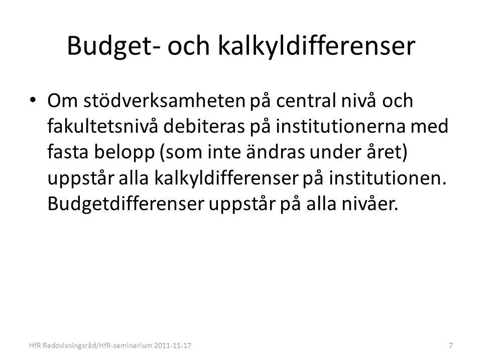 Budget- och kalkyldifferenser Om stödverksamheten på central nivå och fakultetsnivå debiteras på institutionerna med fasta belopp (som inte ändras under året) uppstår alla kalkyldifferenser på institutionen.