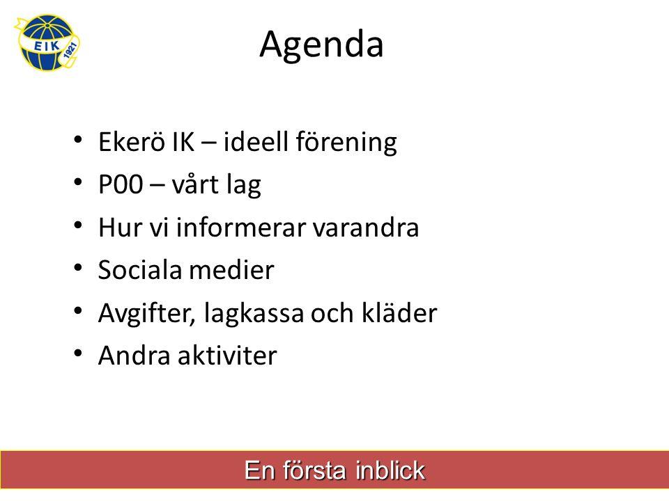 Agenda Ekerö IK – ideell förening P00 – vårt lag Hur vi informerar varandra Sociala medier Avgifter, lagkassa och kläder Andra aktiviter En första inblick