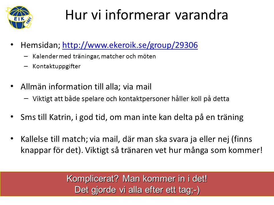 Hur vi informerar varandra Hemsidan; http://www.ekeroik.se/group/29306http://www.ekeroik.se/group/29306 – Kalender med träningar, matcher och möten – Kontaktuppgifter Allmän information till alla; via mail – Viktigt att både spelare och kontaktpersoner håller koll på detta Sms till Katrin, i god tid, om man inte kan delta på en träning Kallelse till match; via mail, där man ska svara ja eller nej (finns knappar för det).