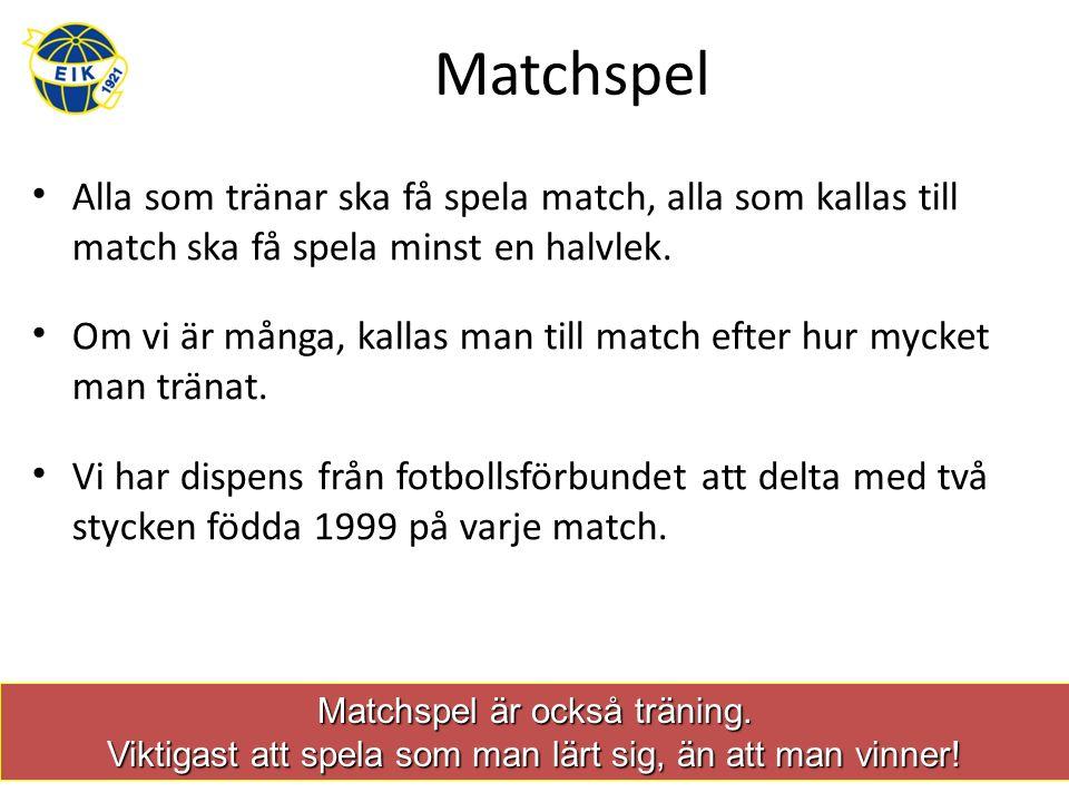 Matchspel Alla som tränar ska få spela match, alla som kallas till match ska få spela minst en halvlek.