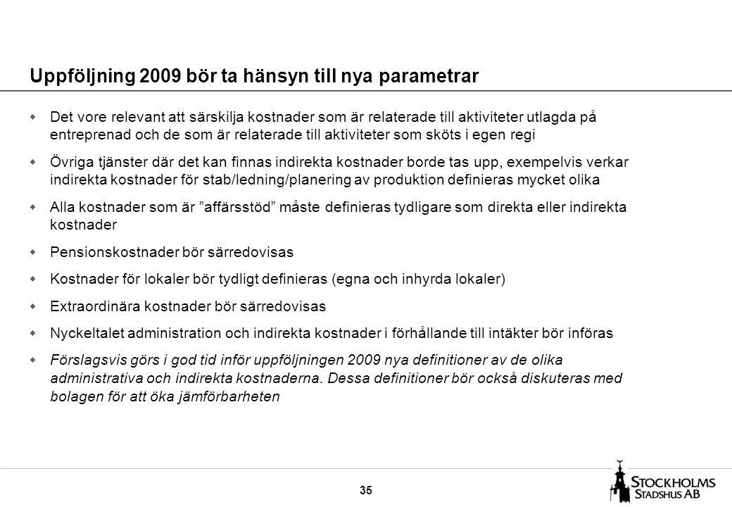 35 Uppföljning 2009 bör ta hänsyn till nya parametrar w Det vore relevant att särskilja kostnader som är relaterade till aktiviteter utlagda på entreprenad och de som är relaterade till aktiviteter som sköts i egen regi w Övriga tjänster där det kan finnas indirekta kostnader borde tas upp, exempelvis verkar indirekta kostnader för stab/ledning/planering av produktion definieras mycket olika w Alla kostnader som är affärsstöd måste definieras tydligare som direkta eller indirekta kostnader w Pensionskostnader bör särredovisas w Kostnader för lokaler bör tydligt definieras (egna och inhyrda lokaler) w Extraordinära kostnader bör särredovisas w Nyckeltalet administration och indirekta kostnader i förhållande till intäkter bör införas w Förslagsvis görs i god tid inför uppföljningen 2009 nya definitioner av de olika administrativa och indirekta kostnaderna.