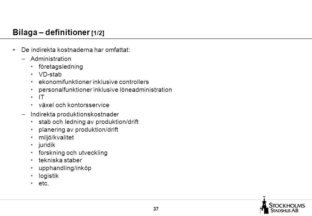 37 Bilaga – definitioner [1/2] w De indirekta kostnaderna har omfattat: –Administration företagsledning VD-stab ekonomifunktioner inklusive controller