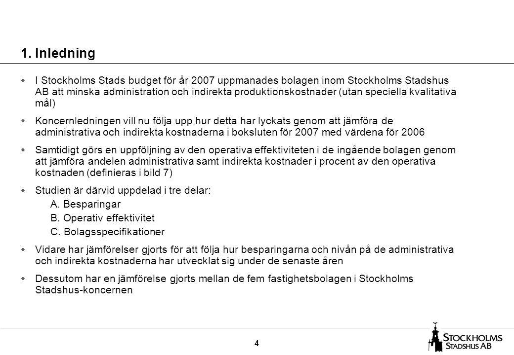 4 w I Stockholms Stads budget för år 2007 uppmanades bolagen inom Stockholms Stadshus AB att minska administration och indirekta produktionskostnader