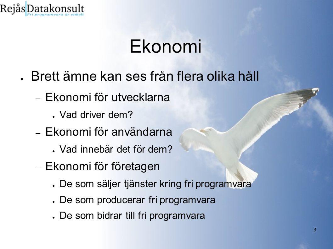 4 Ekonomiska evolutionen ● Från början var det bara entusiaster – Inom GNU var man dock tydlig med att fri programvara inte hindrade kommersialism.
