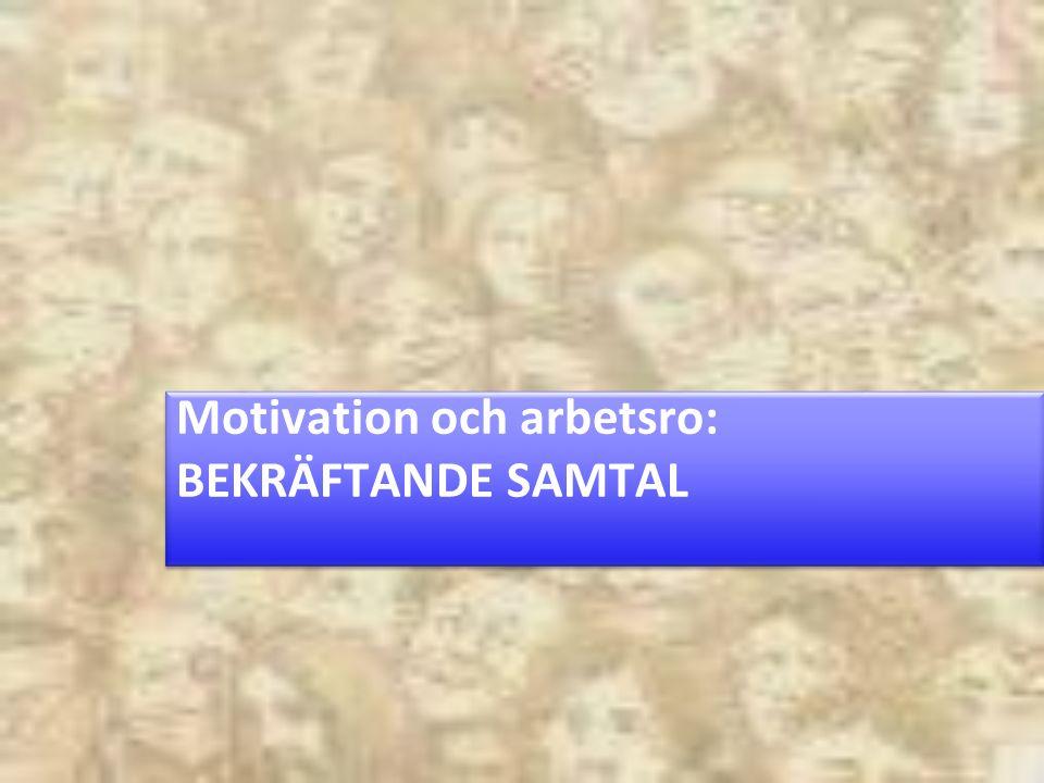 Motivation och arbetsro: BEKRÄFTANDE SAMTAL