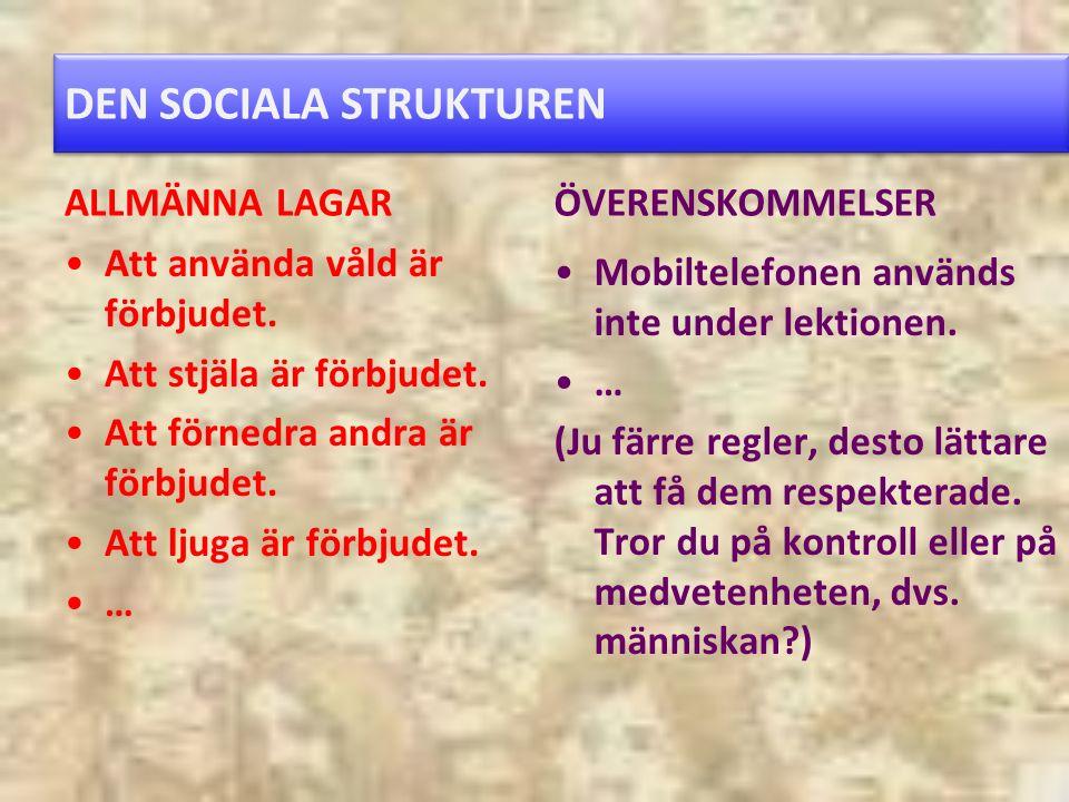 DEN SOCIALA STRUKTUREN ALLMÄNNA LAGAR Att använda våld är förbjudet.