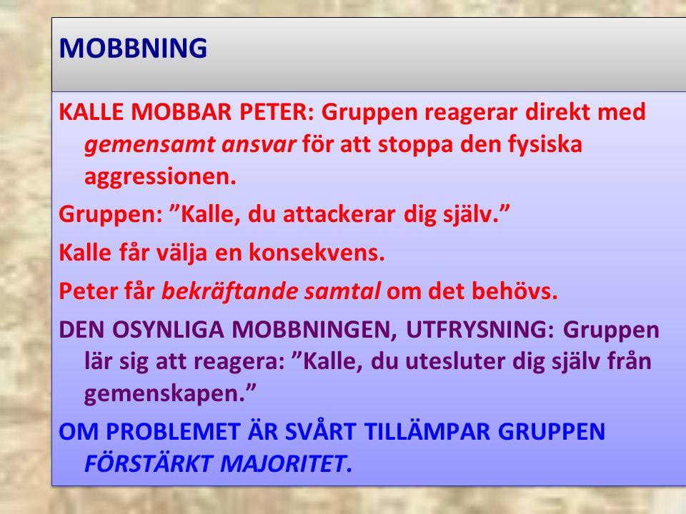 MOBBNING KALLE MOBBAR PETER: Gruppen reagerar direkt med gemensamt ansvar för att stoppa den fysiska aggressionen.