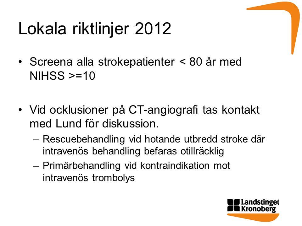 Lokala riktlinjer 2012 Screena alla strokepatienter =10 Vid ocklusioner på CT-angiografi tas kontakt med Lund för diskussion.