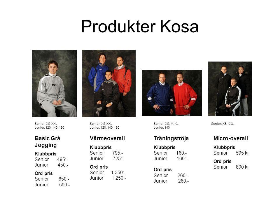 Produkter Kosa Basic Grå Jogging Klubbpris Senior 495:- Junior 450:- Ord pris Senior 650:- Junior 590:- Värmeoverall Klubbpris Senior 795:- Junior 725