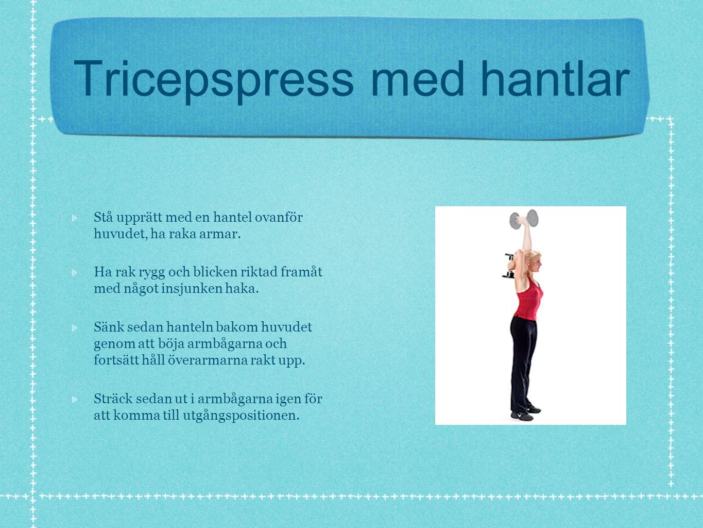 Tricepspress med hantlar Stå upprätt med en hantel ovanför huvudet, ha raka armar.