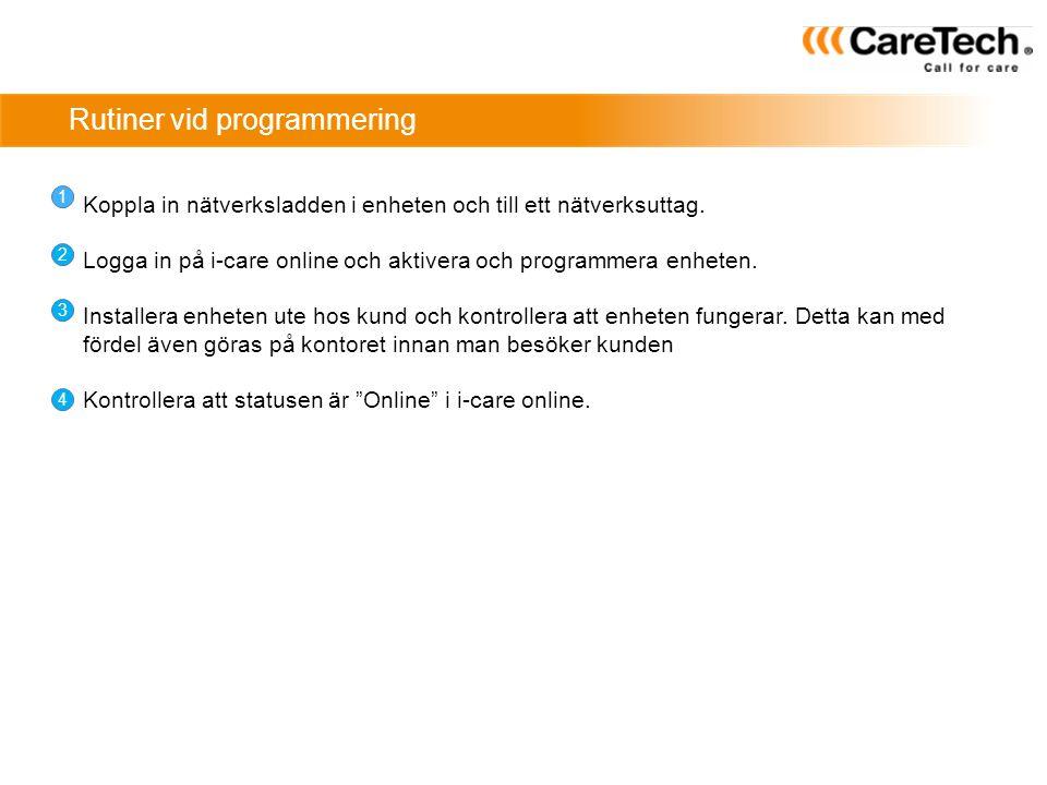 Rutiner vid programmering 1 2 3 4 Koppla in nätverksladden i enheten och till ett nätverksuttag. Logga in på i-care online och aktivera och programmer