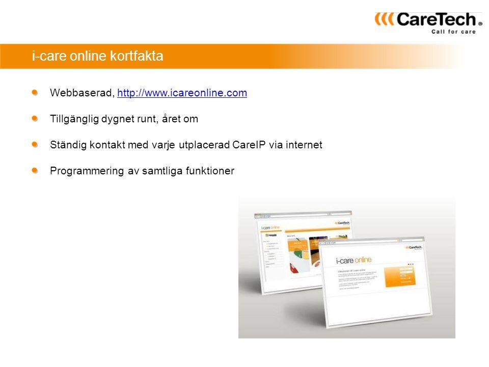 i-care online kortfakta Webbaserad, http://www.icareonline.comhttp://www.icareonline.com Tillgänglig dygnet runt, året om Ständig kontakt med varje ut
