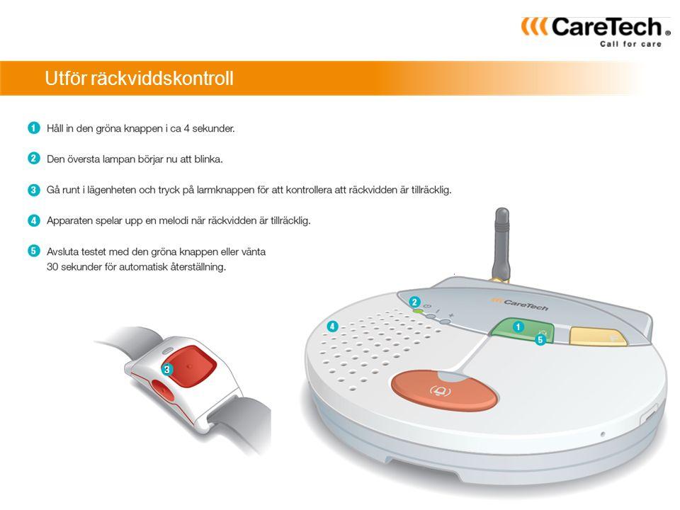 Kontrollera GSM täckning 1 2 3 4 5 6 Håll in gul knapp i ca 4 sekunder.