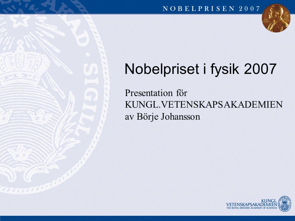 Nobelpriset i fysik 2007 Presentation för KUNGL.VETENSKAPSAKADEMIEN av Börje Johansson