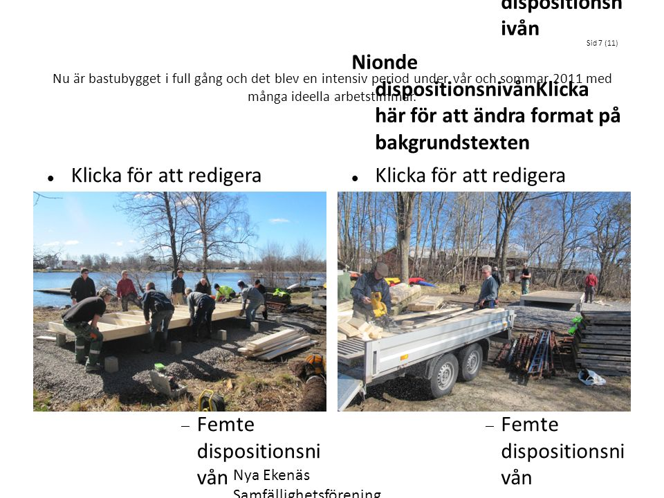 Klicka för att redigera dispositionstextens format Andra dispositionsnivån  Tredje dispositionsnivån Fjärde dispositionsnivå n  Femte dispositionsni