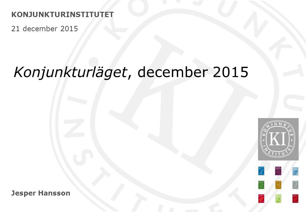 Jesper Hansson KONJUNKTURINSTITUTET 21 december 2015 Konjunkturläget, december 2015