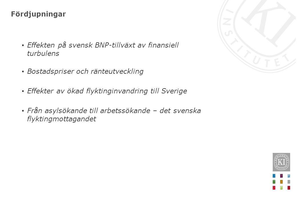 Fördjupningar Effekten på svensk BNP-tillväxt av finansiell turbulens Bostadspriser och ränteutveckling Effekter av ökad flyktinginvandring till Sverige Från asylsökande till arbetssökande – det svenska flyktingmottagandet