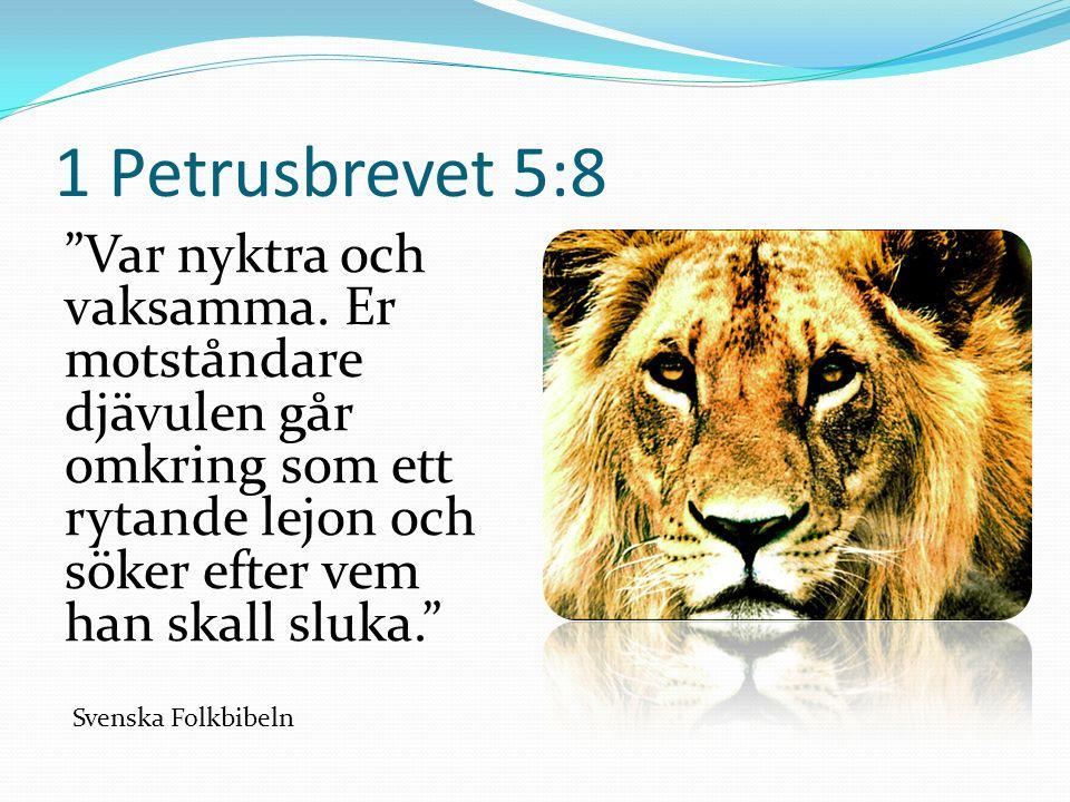 1 Petrusbrevet 5:8 Var nyktra och vaksamma.