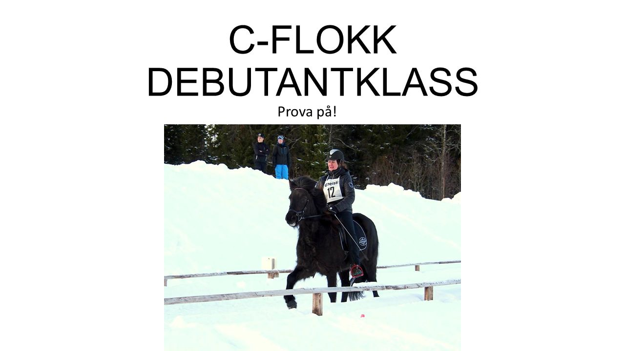 GDC C-flokk = debutantklass Här kan alla tävla för att prova på, stora som små.