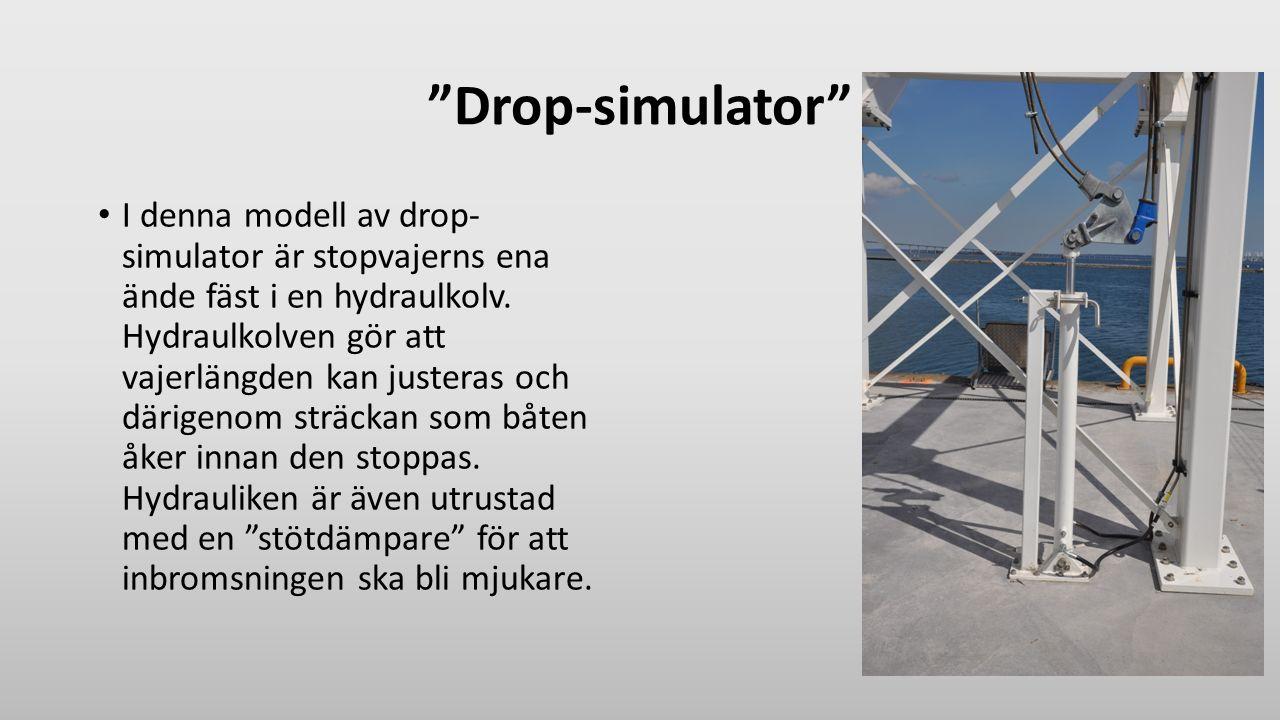 """""""Drop-simulator"""" I denna modell av drop- simulator är stopvajerns ena ände fäst i en hydraulkolv. Hydraulkolven gör att vajerlängden kan justeras och"""