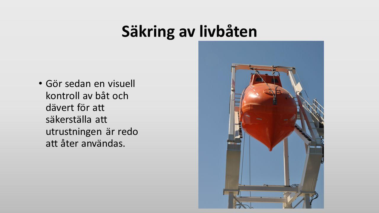Säkring av livbåten Gör sedan en visuell kontroll av båt och dävert för att säkerställa att utrustningen är redo att åter användas.