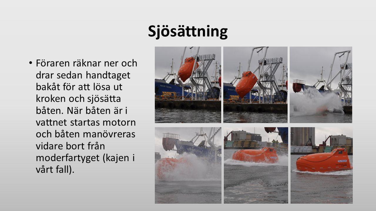 Sjösättning Föraren räknar ner och drar sedan handtaget bakåt för att lösa ut kroken och sjösätta båten. När båten är i vattnet startas motorn och båt