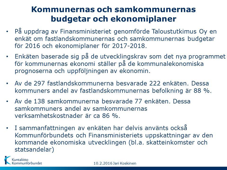 10.2.2016 Jari Koskinen Kommunernas och samkommunernas budgetar och ekonomiplaner Av de 138 samkommunerna besvarade 77 enkäten.