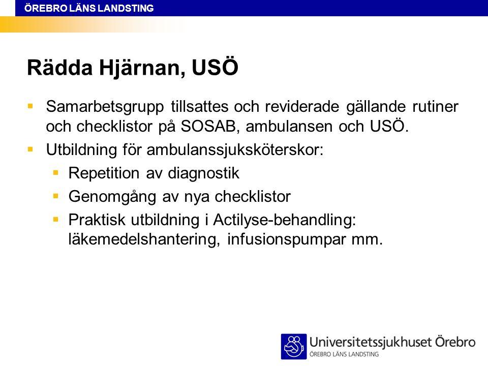 ÖREBRO LÄNS LANDSTING Rädda Hjärnan, USÖ  Samarbetsgrupp tillsattes och reviderade gällande rutiner och checklistor på SOSAB, ambulansen och USÖ.
