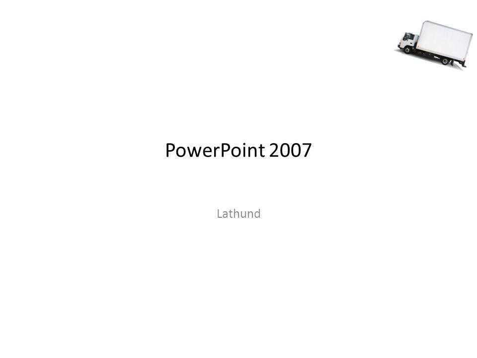 Testköra bildspel När du skapar ditt bildspel så är det bra att testköra för att se hur det ser ut i helbild på projektorn (kolla textstorlek, kontraster, färgval, etc) Testkör från början: F5 Testkör aktuell diabild: SHIFT+F5 Gå tillbaka till PowerPoint med ESC