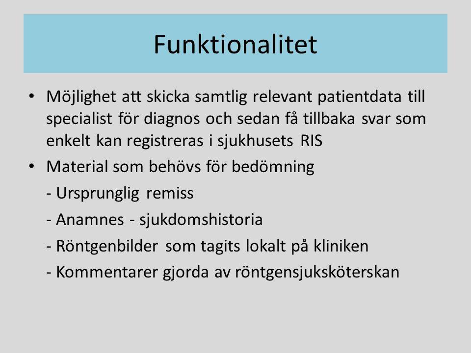 Funktionalitet Möjlighet att skicka samtlig relevant patientdata till specialist för diagnos och sedan få tillbaka svar som enkelt kan registreras i sjukhusets RIS Material som behövs för bedömning - Ursprunglig remiss - Anamnes - sjukdomshistoria - Röntgenbilder som tagits lokalt på kliniken - Kommentarer gjorda av röntgensjuksköterskan