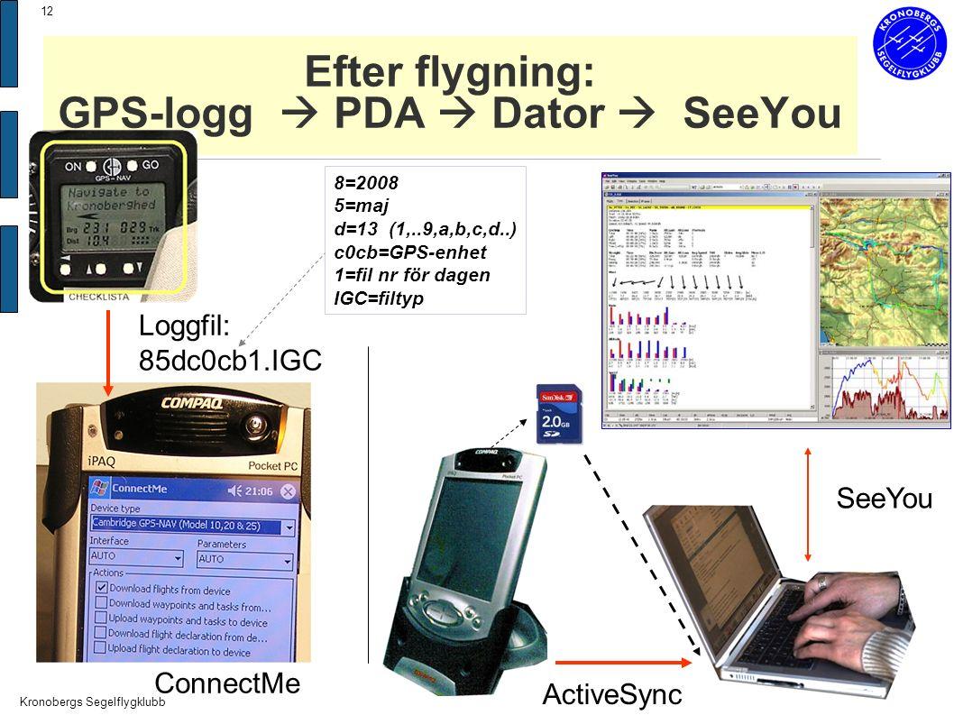 Kronobergs Segelflygklubb 12 Efter flygning: GPS-logg  PDA  Dator  SeeYou Loggfil: 85dc0cb1.IGC 8=2008 5=maj d=13 (1,..9,a,b,c,d..) c0cb=GPS-enhet 1=fil nr för dagen IGC=filtyp ConnectMe SeeYou ActiveSync