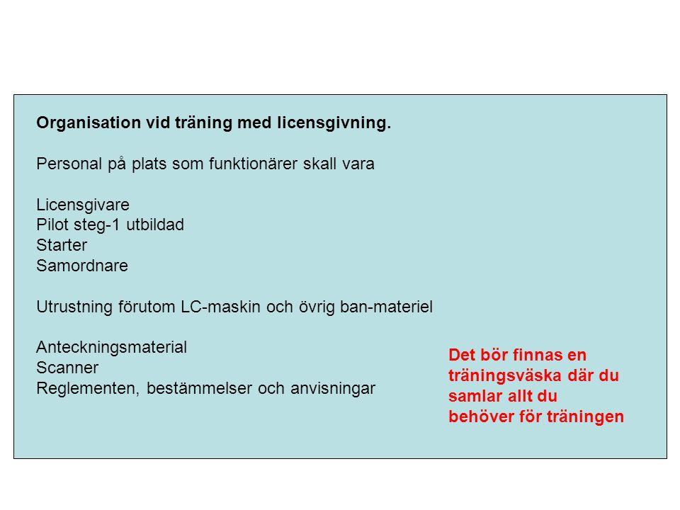 Organisation vid träning med licensgivning.