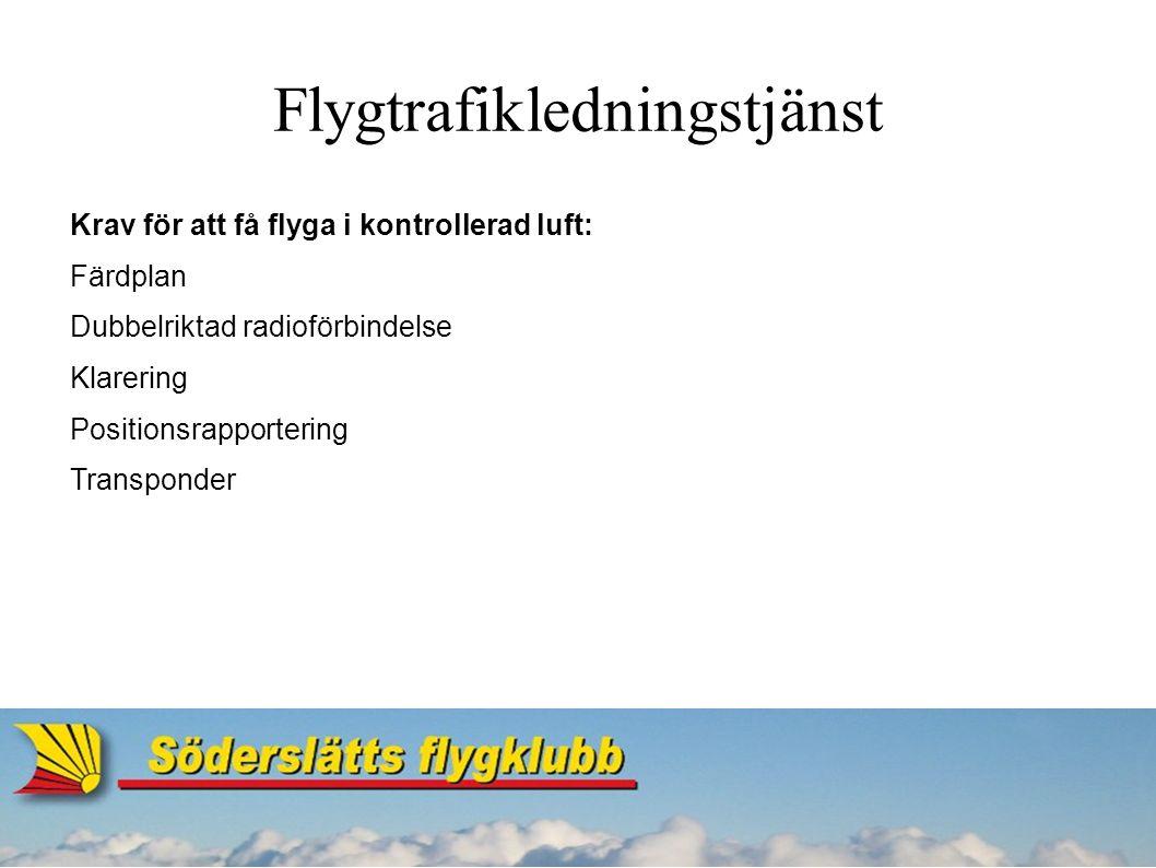 Flygtrafikledningstjänst CTR (Controlzone) Sträcker sig från marken upp till en fastställd höjd.