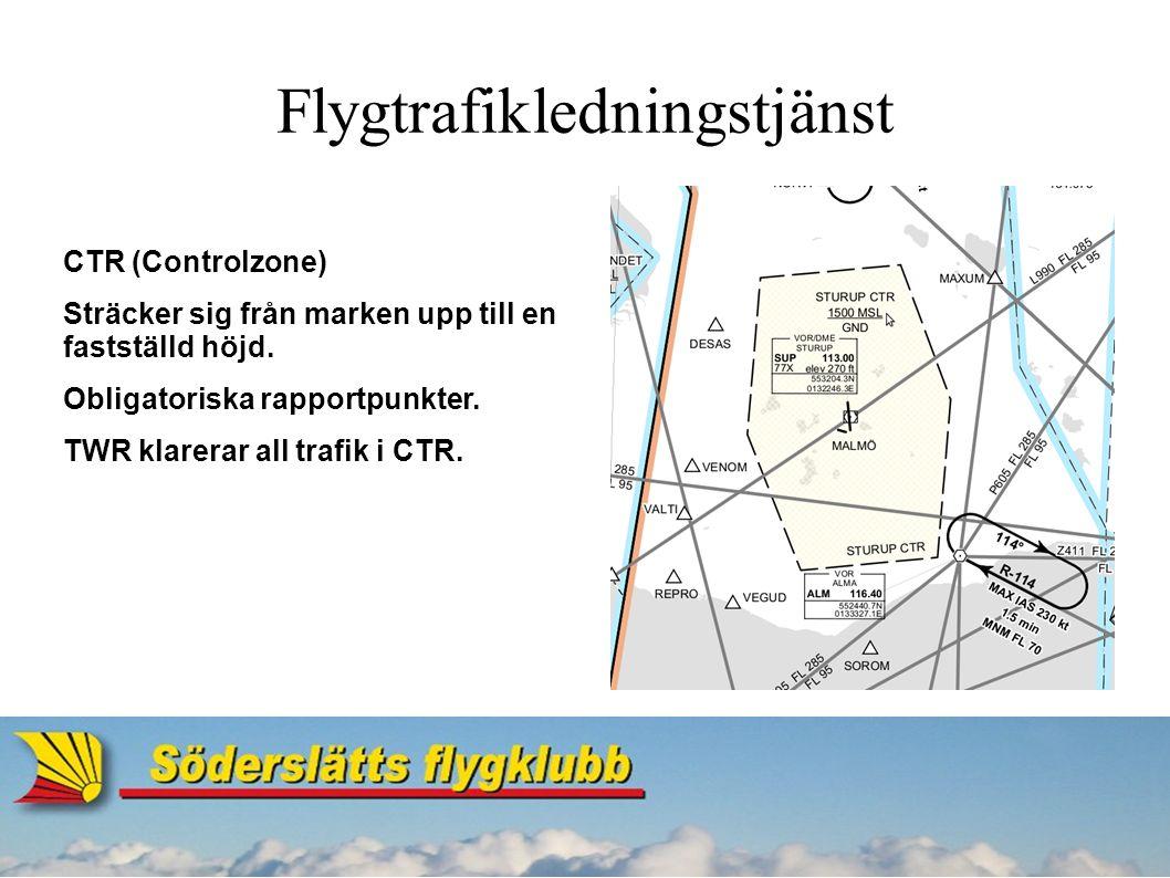Flygtrafikledningstjänst TMA (Terminal Manoeuvring Area) - Område runt flygplatser.